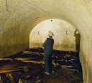 Second beer cave underneath the former Union Brewery of Iowa City (now Brewery Square, Linn and Market St.). Photographer: Charles Scott. More information can be found on the Wikipedia page for the Union Brewery. Image courtesy of the State Historical Society of Iowa, Iowa City.