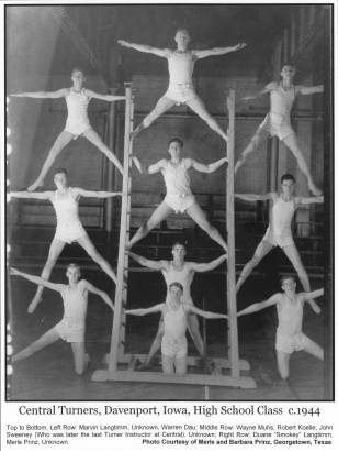 Boys gymnastic team, Central Turner Society, Davenport, c. 1944. The Quad Cities were home to several Turner societies for both men and women. Several still remain active. Additional images and artifacts of Eastern Iowa Turner Societies can be found on the website of the Schuetzen Park in Davenport.
