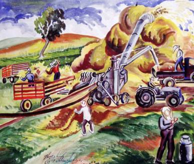 """Threshing,"" painting by Eve Drewelowe, 1899-1988, who was born Eva Drewlow in New Hampton, Iowa. For more images of Drewelowe's art, please consult the Eve Drewelowe Digital Collection at the University of Iowa Libraries."