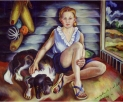"""Summertime with Sis and Soot,"" painting by Eve Drewelowe, 1899-1988. Drewelowe, a daughter of German immigrants, received the University of Iowa's first Master's degree in studio arts in 1924. For more on her life and work, please see the University of Iowa Libraries page on Pioneering Artist Eve Drewelowe."