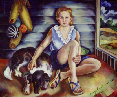 """""""Summertime with Sis and Soot,"""" painting by Eve Drewelowe, 1899-1988. Drewelowe, a daughter of German immigrants, received the University of Iowa's first Master's degree in studio arts in 1924. For more on her life and work, please see the University of Iowa Libraries page on Pioneering Artist Eve Drewelowe."""