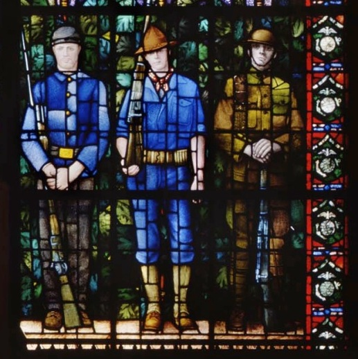 Detail from Grant Wood, Veterans Memorial Window, 1929. The figures depicted represent veterans of the Civil War, the Spanish-American War, and World War I. For more information, see the Grant Wood Window page of the Veterans Memorial Commission in Cedar Rapids. Image courtesy of the Veterans Memorial Commission, Cedar Rapids.